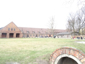 Main building upon approach to Auschwitz
